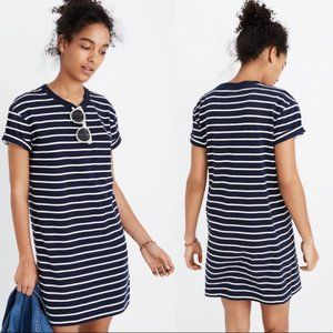 Madewell Striped Pocket Tee Dress Navy White XXS